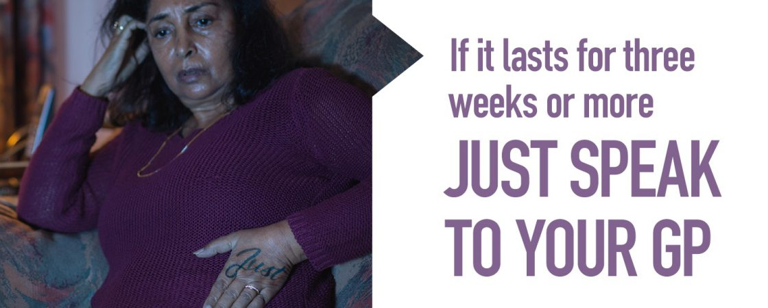 Encouragement to speak to your GP if you have abdominal pain for three weeks or more as it could be a sign of cancer