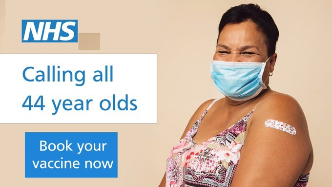 Call for people aged 44 to get their COVID-19 jab